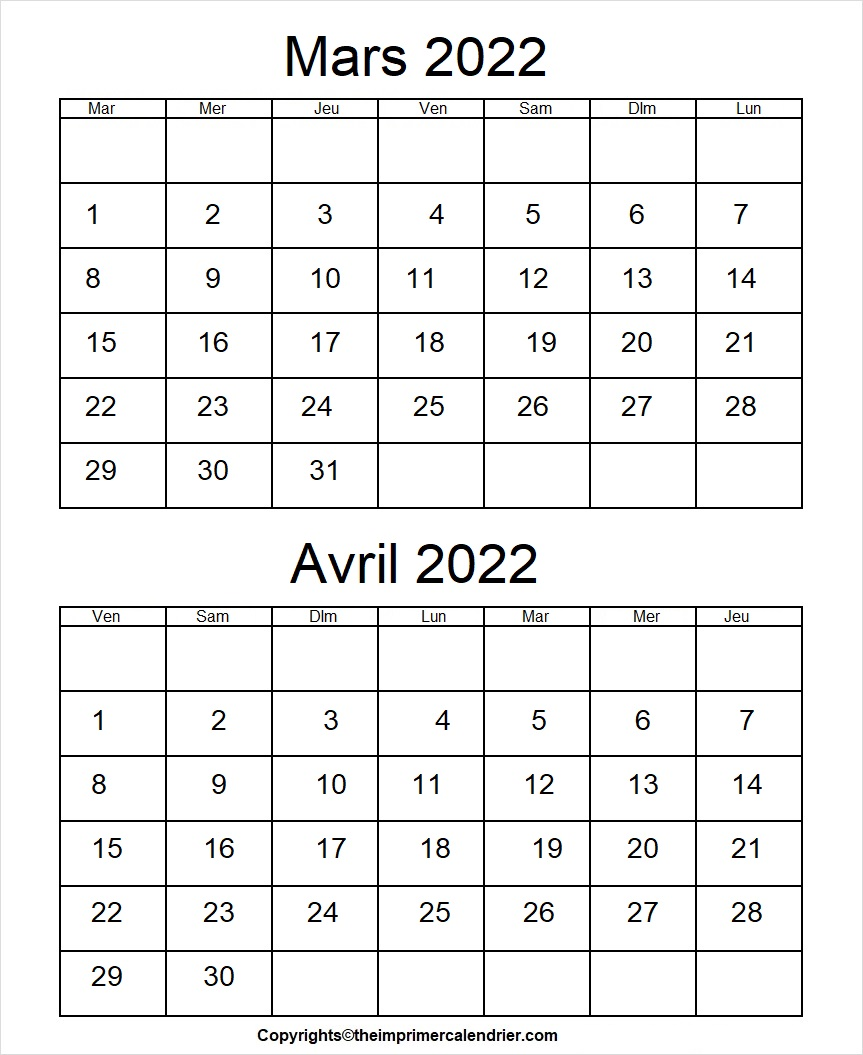 Calendrier Mars Avril 2022 à imprimer