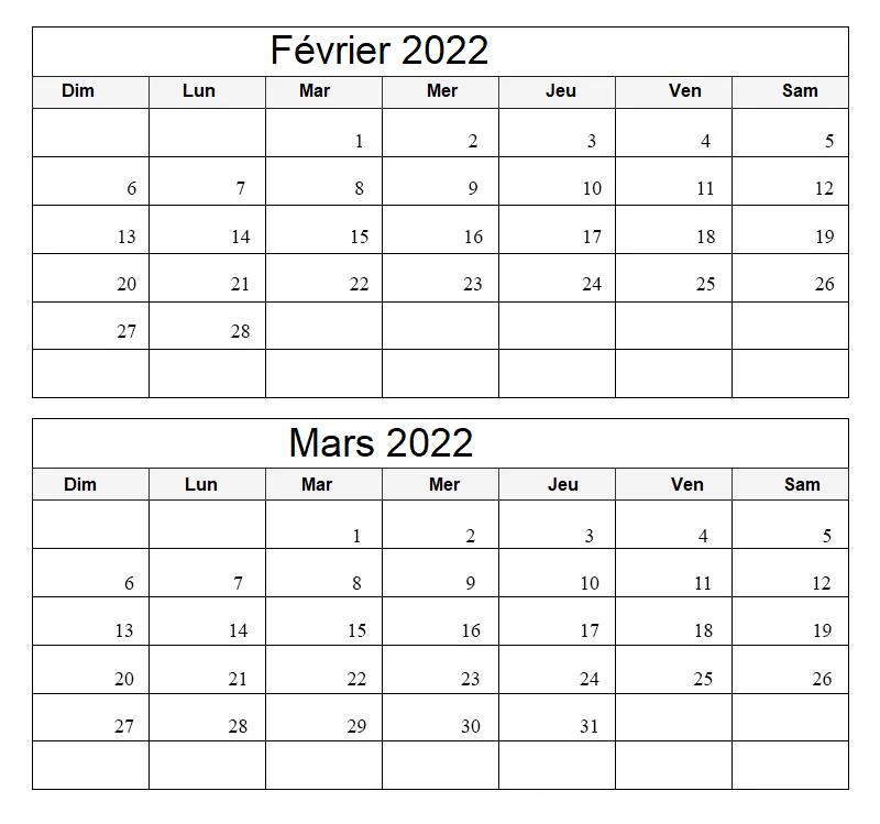 Calendrier Mois Février Mars 2022 a Imprimer