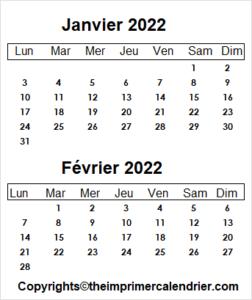 Calendrier Mois Janvier Février 2022 a Imprimer