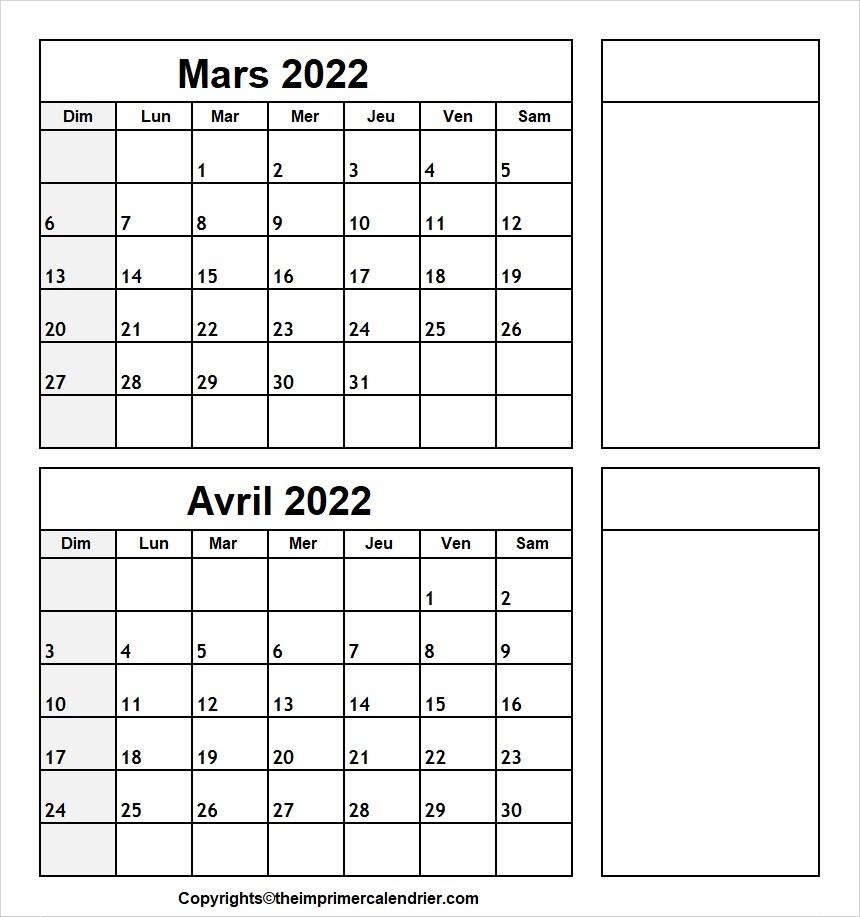 Calendrier Mois Mars Avril 2022 a Imprimer