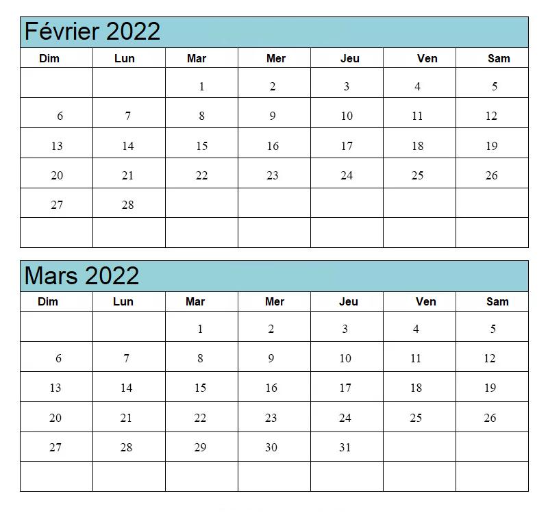 Calendrier Planning Février Mars 2022 a Imprimer