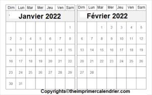 Calendrier Planning Janvier Février 2022 a Imprimer