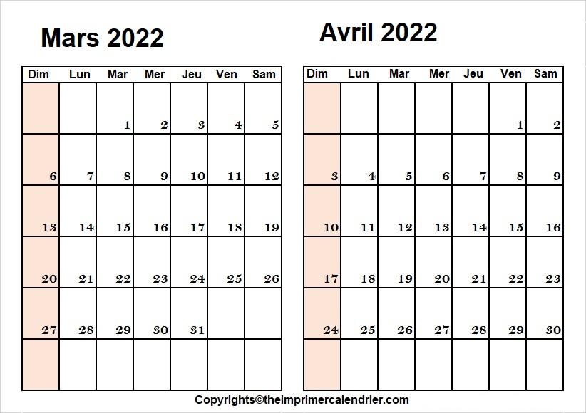 Calendrier Planning Mars Avril 2022 a Imprimer