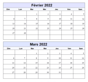 Calendrier Vierge Février Mars 2022