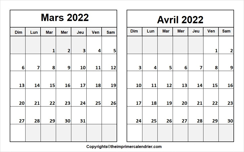 Calendrier Vierge Mars Avril 2022