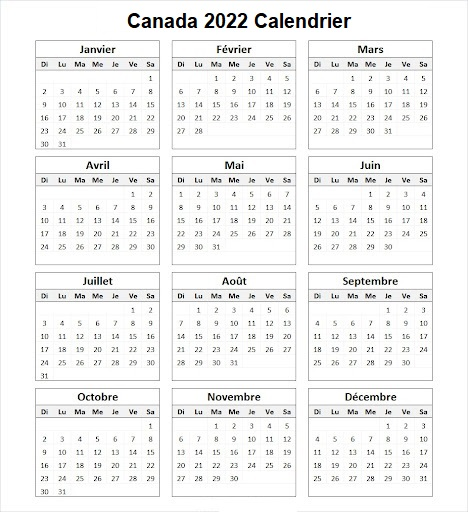 Canada 2022 Calendrier Imprimable
