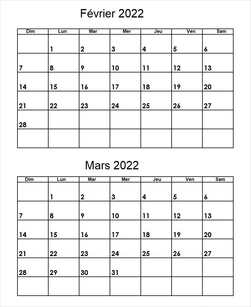 Février Mars 2022 Calendrier PDF