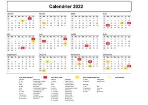 Le Calendrier Des Fetes 2022