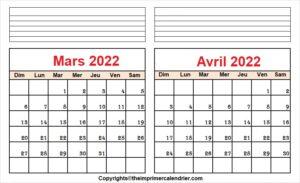 Mars Avril 2022 Calendrier PDF
