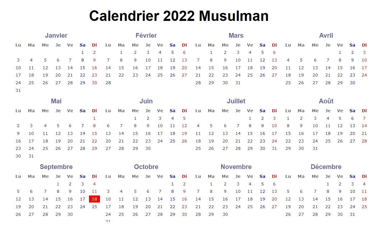 Calendrier 2022 Musulman