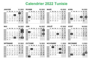 Calendrier 2022 Tunisie