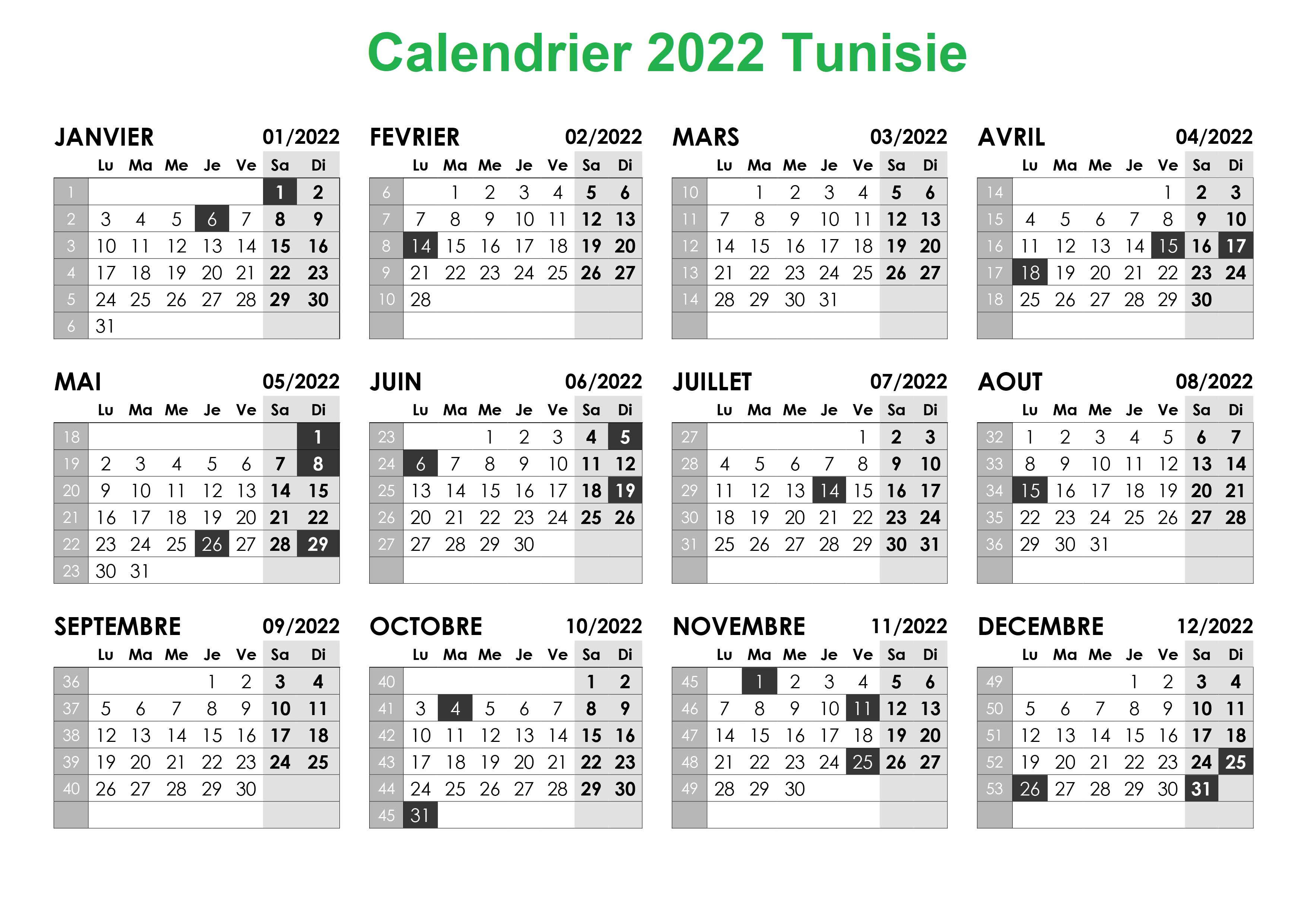 Calendrier Tunisie 2022