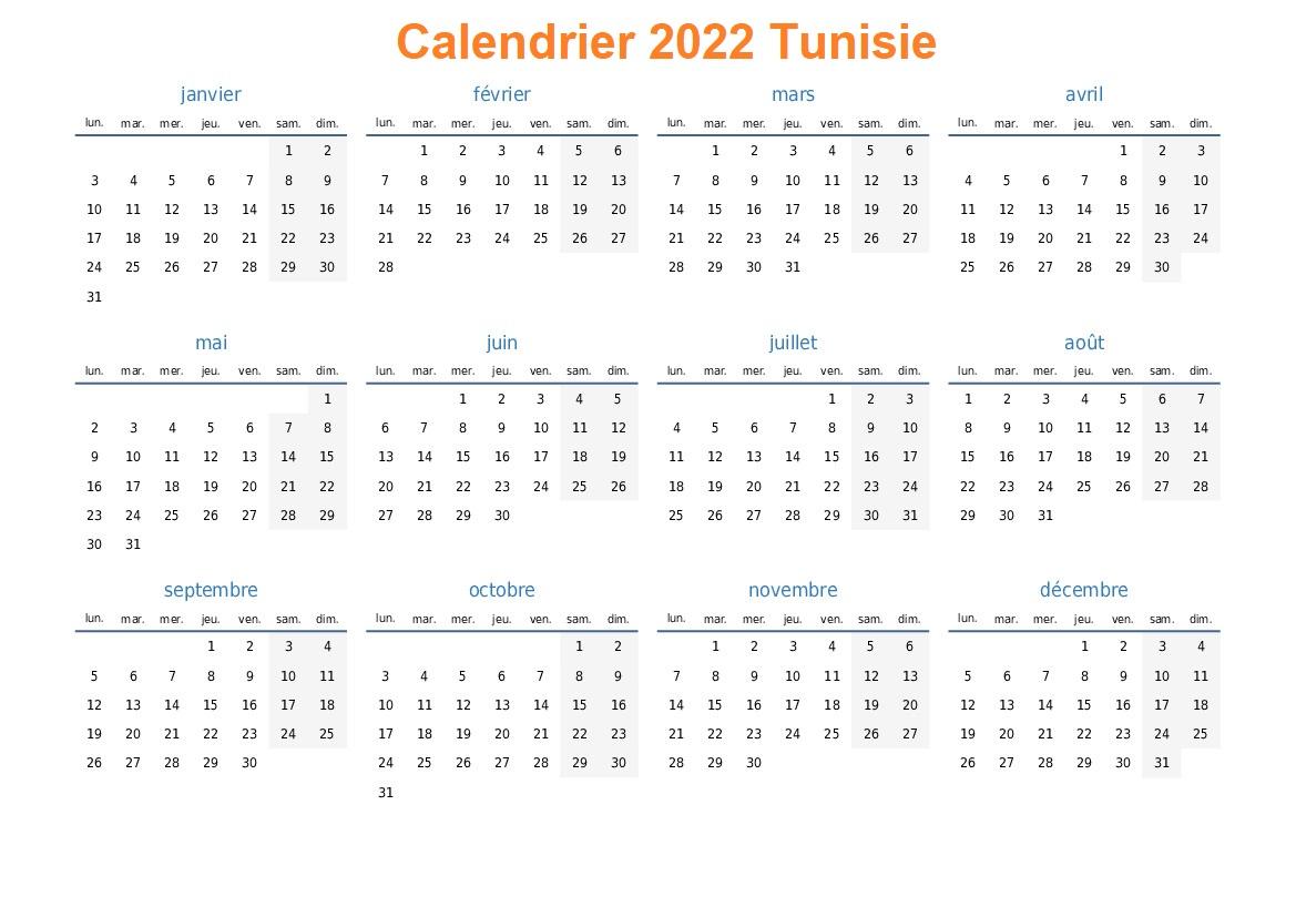 Calendrier Championnat Tunisie 2022