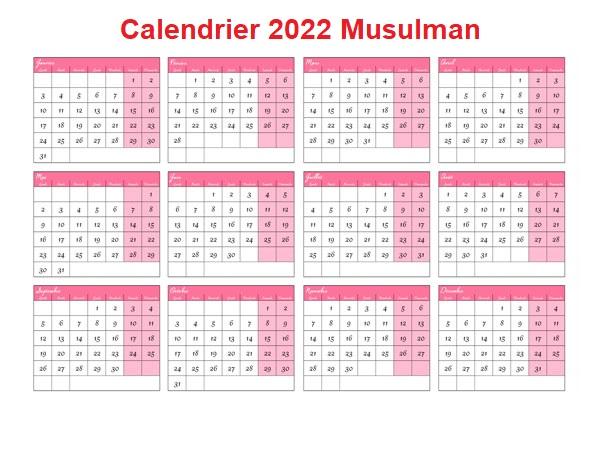 Calendrier Lunaire 2022 Musulman