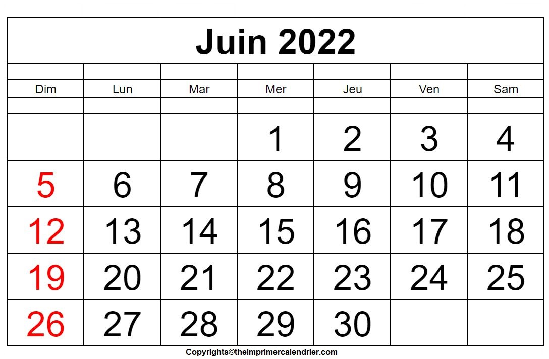 Calendrier Juin 2022 PDF
