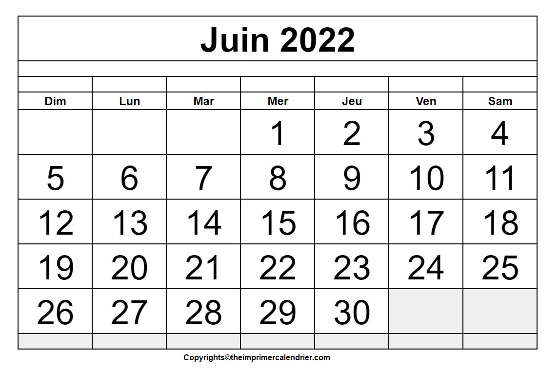 Juin 2022 Calendrier Imprimable